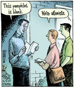 atheists with pamphlets